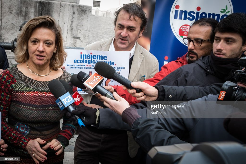 Angelo Bonelli (C) and Italian Monica Frassoni, European Green Party co-chair, speak of the Lista Insieme during a conference on January 12, 2018 at Piazza Montecitorio in Rome, Italy to call for a ban from 2020 on the sale of 100% non biodegradable plastic bottles in public places.