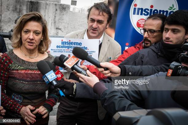 Angelo Bonelli and Italian Monica Frassoni European Green Party cochair speak of the Lista Insieme during a conference on January 12 2018 at Piazza...