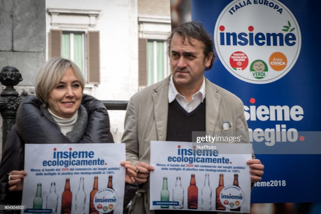 Angelo Bonelli (R) and Luana Zanella of Verdi and among the promoters of the Lista Insieme, during a conference on January 12, 2018 at Piazza Montecitorio in Rome, Italy to call for a ban from 2020 on the sale of 100% non biodegradable plastic bottles in public places.