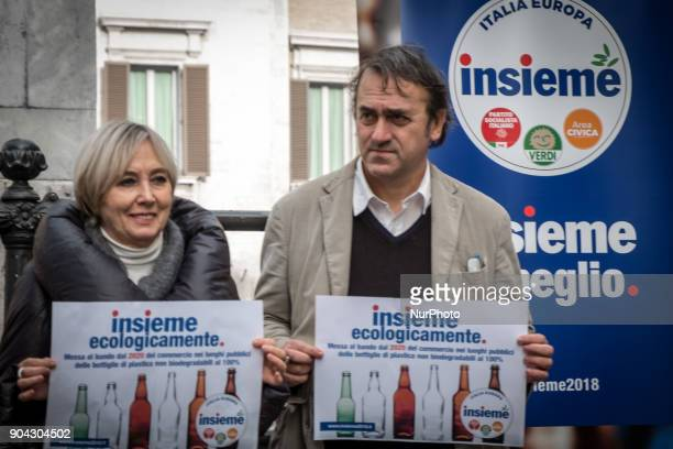 Angelo Bonelli and Luana Zanella of Verdi and among the promoters of the Lista Insieme during a conference on January 12 2018 at Piazza Montecitorio...