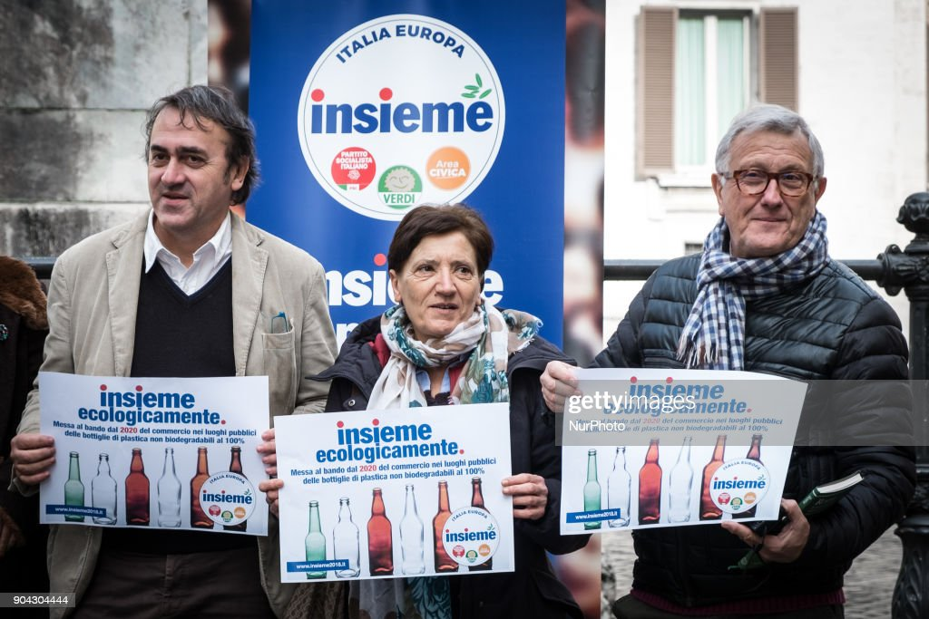 Angelo Bonelli (L), Luana Zanella and Monica Frassoni of Verdi and among the promoters of the Lista Insieme, held a conference on January 12, 2018 at Piazza Montecitorio in Rome, Italy to call for a ban from 2020 on the sale of 100% non biodegradable plastic bottles in public places.