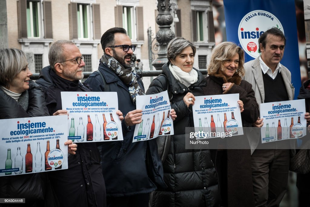 Angelo Bonelli (R), Luana Zanella and Monica Frassoni of Verdi and among the promoters of the Lista Insieme, held a conference on January 12, 2018 at Piazza Montecitorio in Rome, Italy to call for a ban from 2020 on the sale of 100% non biodegradable plastic bottles in public places.