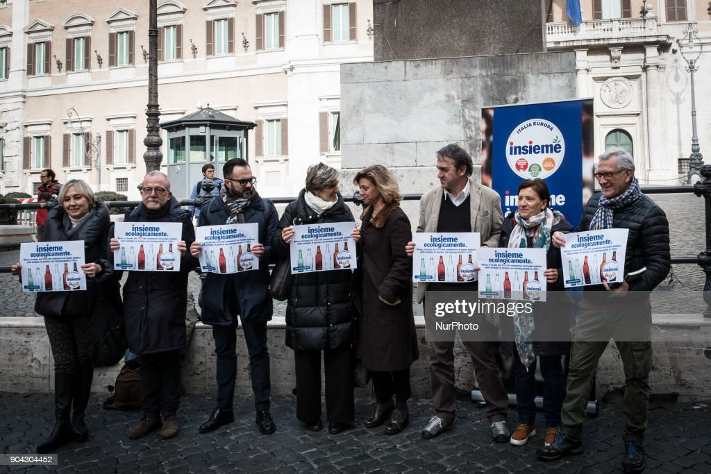 Angelo Bonelli, Luana Zanella and Monica Frassoni of Verdi and among the promoters of the Lista Insieme, held a conference on January 12, 2018 at Piazza Montecitorio in Rome, Italy to call for a ban from 2020 on the sale of 100% non biodegradable plastic bottles in public places.