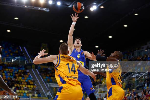 Angelo Caloiaro #4 of Maccabi Fox Tel Aviv in action during the 2018/2019 Turkish Airlines EuroLeague Regular Season Round 7 game between Herbalife...