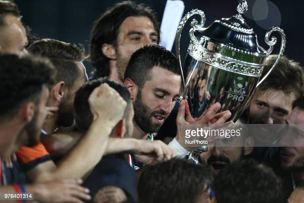 Angelo Corsi of Cosenza Calcio celebrate the victory of the Lega Pro 17/18 Playoff final match between Robur Siena and Cosenza Calcio at Stadio...