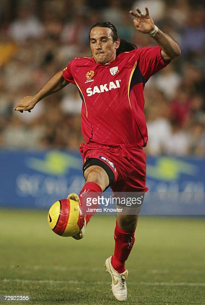 Angelo Costanzo of United in action during the round nineteen A-League match between Adelaide United and the Queensland Roar at Hindmarsh Stadium...