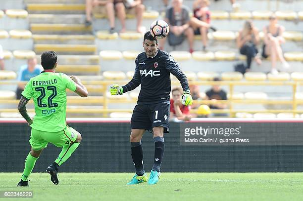 Angelo Da Costa goalkeeper of Bologna FC heads the ball outside his area during the Serie a match between Bologna FC and Cagliari Calcio at Stadio...