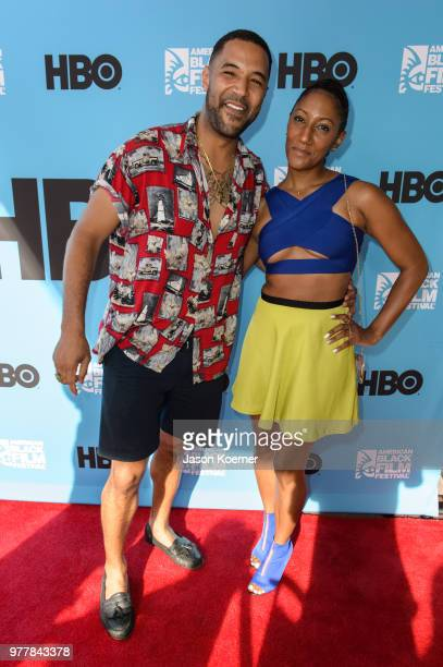 Angelo Diaz and guest attends the Secret HBO Sneak Screening of Random Acts of Flyness at the Colony Theater during the 22nd Annual American Black...