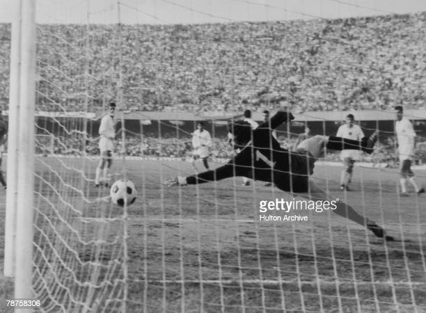 Angelo Domenghini scores during Italy's 20 defeat of Bulgaria during the quarter finals of the European Nations Cup in Naples 20th April 1968 The...