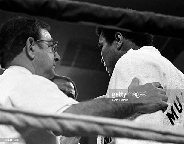 Angelo Dundee and Muhammad Ali attend Muhammad Ali vs Leon Spinks Heavyweight Boxing Match on February 15 1978 at the International Hilton Hotel in...