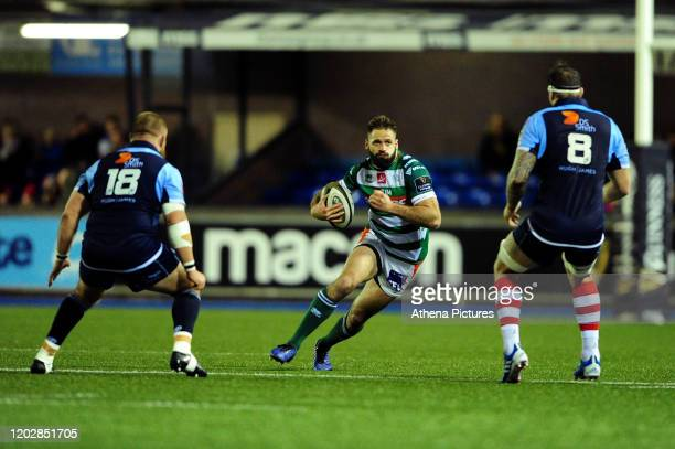 Angelo Esposito of Benetton Treviso in action during the Guinness Pro14 Round 12 match between the Cardiff Blues and Benetton Rugby at Cardiff Arms...