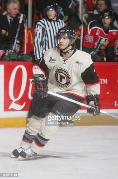 Angelo Esposito of the Quebec Remparts skates against the Halifax Mooseheads on February 18, 2006 at the Halifax Metro Centre in Halifax, Nova...