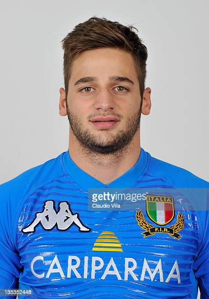 Angelo Esposito poses during an Italy U20 Rugby Union portrait Session on December 6 2011 in Tirrenia Italy