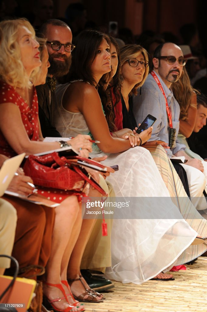 Angelo Flaccavento and Margherita Missoni attend the Missoni Collection show during Milan Menswear Fashion Week Spring Summer 2014 on June 23, 2013 in Milan, Italy.