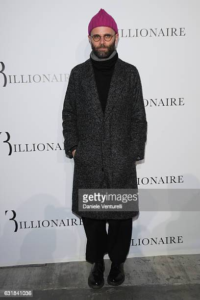 Angelo Flaccavento arrives at the Billionaire show during Milan Men's Fashion Week Fall/Winter 2017/18 on January 16 2017 in Milan Italy