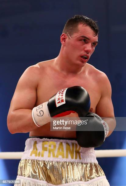 Angelo Frank of Germany in action against Denis Ilbay of Germany during their GBU welterweight titel fight at MBS Arena on March 25 2017 in Potsdam...
