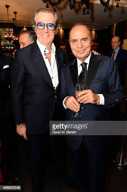 Angelo Galasso and Bruno Vespa attends the Vespa wine presentation hosted by Angelo Galasso and Dylan Jones at the Baglioni Hotel on November 26 2015...