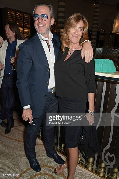 Angelo Galasso and Carlotta Galasso attend the GQ London Collections Men closing party hosted by Dylan Jones at Massimo Restaurant Oyster Bar in...