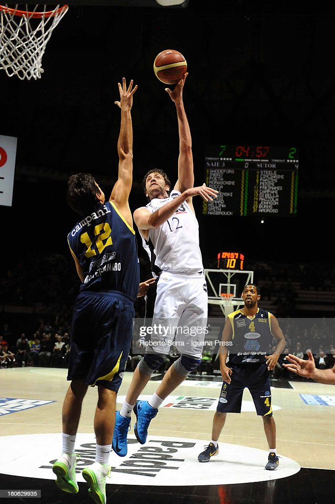 Angelo Gigli of SAIE3 competes with Luca Campani of Sutor during the LegaBasket Serie A match between Virtus Bologna SAIE3 and Sutor Montegranaro at Unipol Arena on February 3, 2013 in Bologna, Italy.