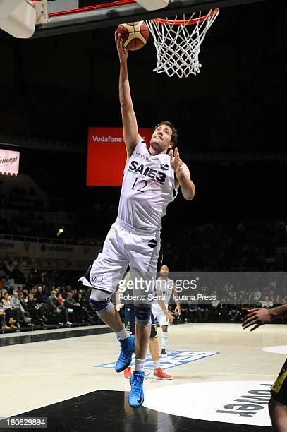 Angelo Gigli of SAIE3 in action during the LegaBasket Serie A match between Virtus Bologna SAIE3 and Sutor Montegranaro at Unipol Arena on February 3...