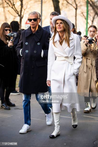 Angelo Gioia and Anna dello Russo are seen outside Fendi on Day 2 Milan Fashion Week Autumn/Winter 2019/20 on February 21 2019 in Milan Italy