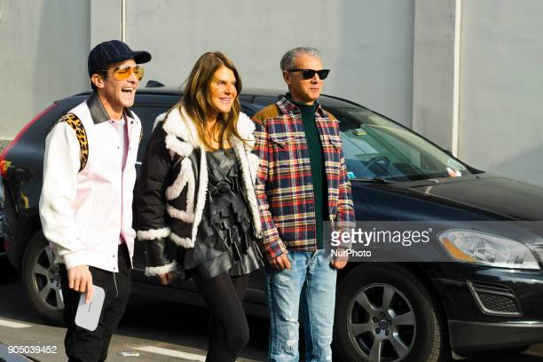 Angelo Gioia and Anna dello Russo is seen outside DSquared2 during Milan Men's Fashion Week Fall/Winter 2018/19 on January 14 2018 in Milan Italy