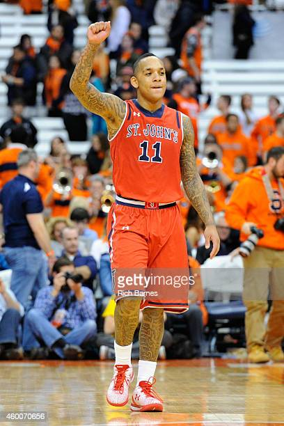 Angelo Harrison of the St John's Red Storm reacts following the game against the Syracuse Orange during the second half at the Carrier Dome on...