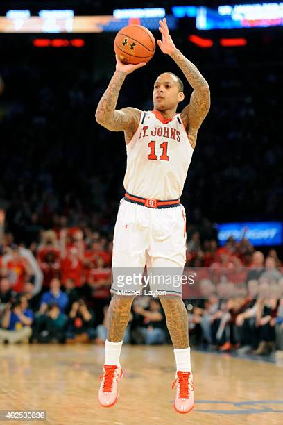 Angelo Harrison of the St John's Red Storm takes a jump shot during a college basketball game against the Duke Blue Devils at Madison Square Garden...