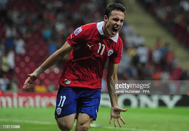 Angelo Henriquez of Chile celebrates his goal during the FIFA U-20 World Cup Quarter-Final match between Ghana and Chile at the Ali Sami Yen Arena on...