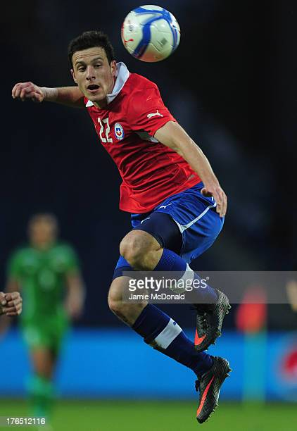 Angelo Henriquez of Chile in action during the international friendly match between Chile and Iraq at the Brondby Stadium on August 14 2013 in...