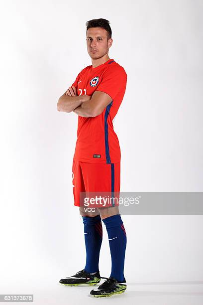 Angelo Henriquez of Chile poses during the team presentation ahead of the 2017 Gree China Cup International Football Championship on January 9 2017...