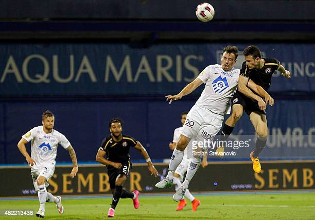 ZAGREB CROATIA JULY 28 Angelo Henriquez of FC Dinamo Zagreb in action against Knut Olav Rindaroy of FC Molde during the UEFA Champions League Third...
