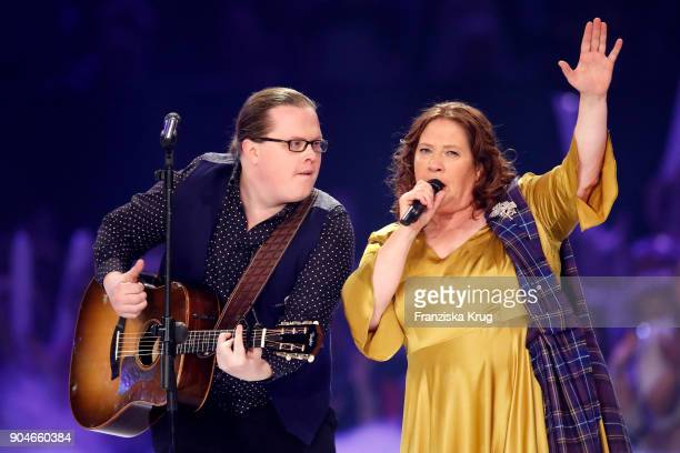 Angelo Kelly and Kathy Ann Kelly perform during the 'Schlagerchampions Das grosse Fest der Besten' TV Show at Velodrom on January 13 2018 in Berlin...