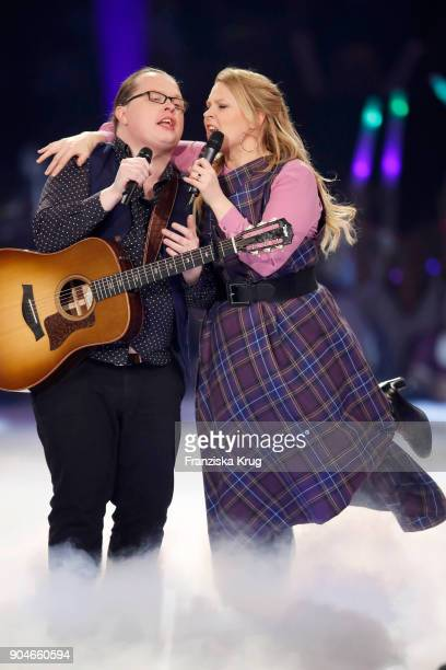 Angelo Kelly and Maria Patricia Kelly perform during the 'Schlagerchampions Das grosse Fest der Besten' TV Show at Velodrom on January 13 2018 in...