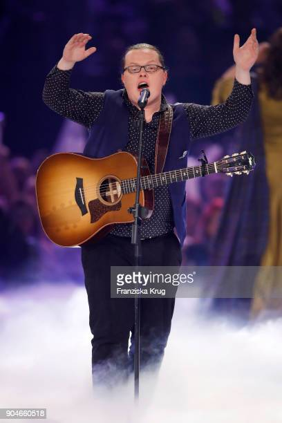 Angelo Kelly performs during the 'Schlagerchampions Das grosse Fest der Besten' TV Show at Velodrom on January 13 2018 in Berlin Germany