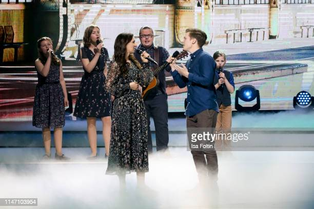 Angelo Kelly performs with his wife and his children during the television show 'Willkommen bei Carmen Nebel' at Velodrom on May 4 2019 in Berlin...