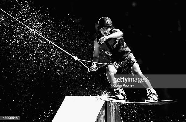 Angelo Louise Linao of the Philippines competes in the Men's Cable Wakeboard during the 2014 Asian Beach Games at Bangneow Dam on November 16 2014 in...