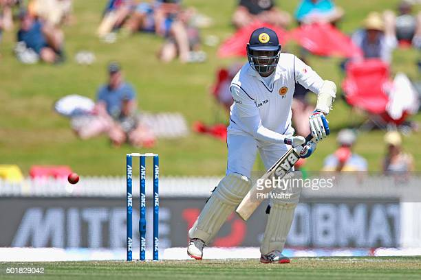 Angelo Mathews of Sri Lanka bats during day one of the Second Test match between New Zealand and Sri Lanka at Seddon Park on December 18 2015 in...