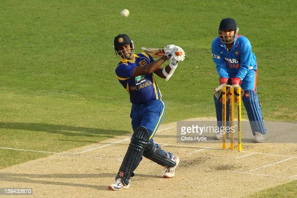 Angelo Mathews of Sri Lanka bats during game eight of the One Day International Series between India and Sri Lanka at The Gabba on February 21 2012...