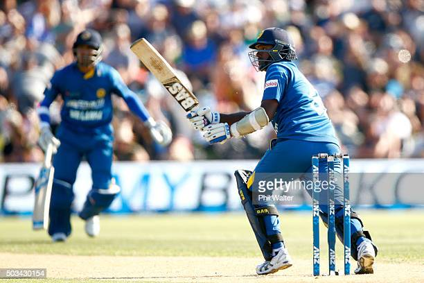 Angelo Mathews of Sri Lanka bats during game five of the One Day International series between New Zealand and Sri Lanka at Bay Oval on January 5,...