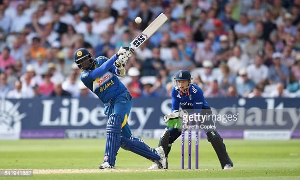 Angelo Mathews of Sri Lanka bats during the 1st ODI Royal London One Day match between England and Sri Lanka at Trent Bridge on June 21 2016 in...