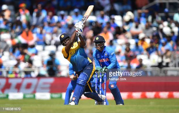 Angelo Mathews of Sri Lanka bats during the Group Stage match of the ICC Cricket World Cup 2019 between Sri Lanka and India at Headingley on July 06,...