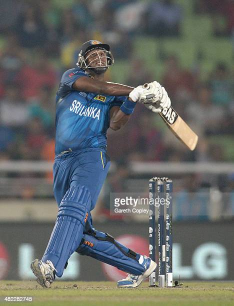 Angelo Mathews of Sri Lanka bats during the ICC World Twenty20 Bangladesh 2014 semi final between Sri Lanka and the West Indies at ShereBangla Mirpur...