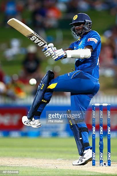 Angelo Mathews of Sri Lanka bats during the One Day International match between New Zealand and Sri Lanka at Seddon Park on January 15 2015 in...