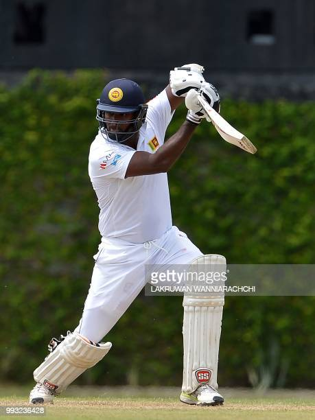 Angelo Mathews of Sri Lanka Board XI plays a shot during the opening day of a twoday practice match between the Sri Lanka Board XI and South African...