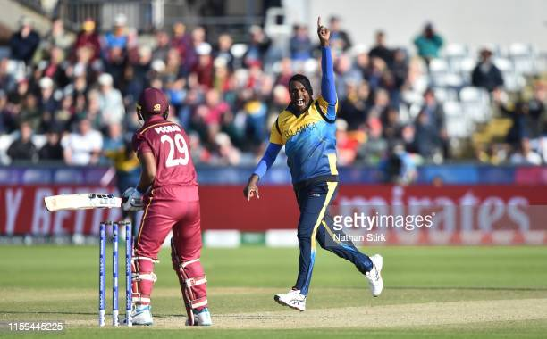 Angelo Mathews of Sri Lanka celebrates as he gets Nicholas Pooran of West Indies out during the Group Stage match of the ICC Cricket World Cup 2019...