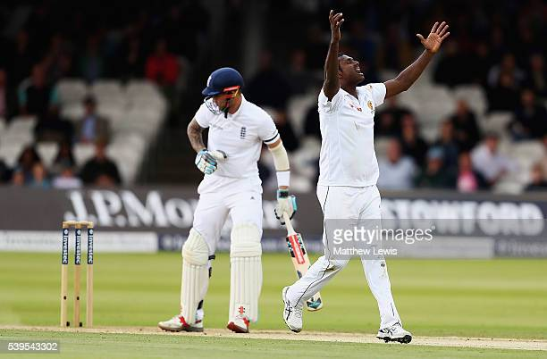 Angelo Mathews of Sri Lanka celebrates bowling Alex Hales of England for LBW during day four of the 3rd Investec Test match between England and Sri...