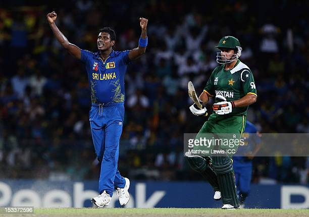 Angelo Mathews of Sri Lanka celebrates bowling Nasir Jamshed of Pakistan for LBW during the ICC World Twenty20 2012 Semi Final match between Sri...