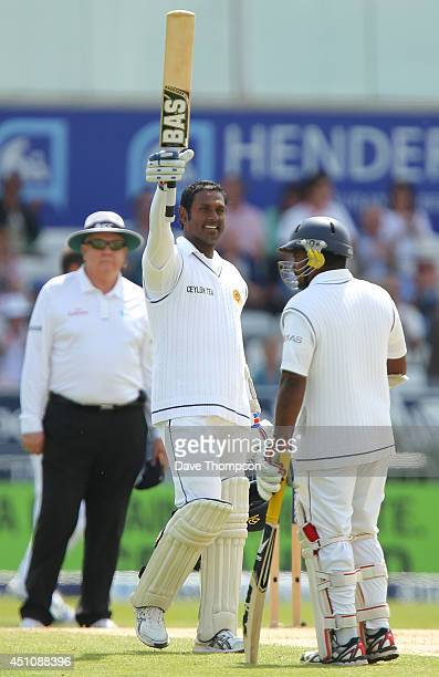 Angelo Mathews of Sri Lanka celebrates reaching 100 during day four of the 2nd Investec Test match between England and Sri Lanka at Headingley...
