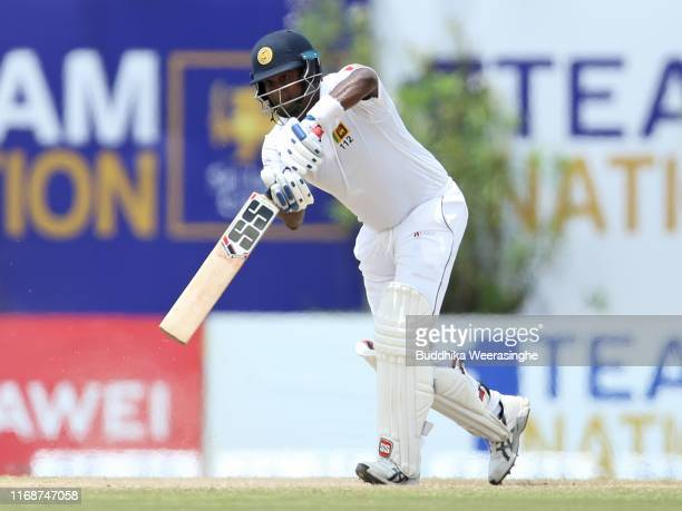 Angelo Mathews of Sri Lanka hits out during day five of the First Test natch between Sri Lanka and New Zealand at Galle International Stadium on...